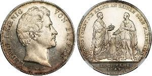 2 Thaler Regno di Baviera (1806 - 1918) Argento Ludovico I di Baviera (re)(1786 – 1868)