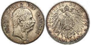 2 Mark Reino de Sajonia (1806 - 1918) Plata Jorge I de Sajonia
