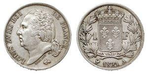 1 Franc France / Kingdom of France (1815-1830) Argent Louis XVIII de France  (1755-1824)