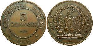 3 Baiocco Vatikan (1926-) Kupfer