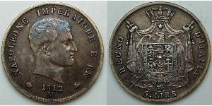 5 Lira 法兰西第一帝国 (1804 - 1814)  拿破仑一世(1769 - 1821)