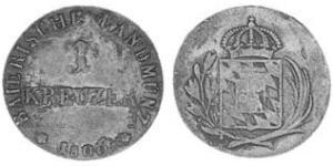 1 Kreuzer Regno di Baviera (1806 - 1918) Rame Massimiliano I Giuseppe di Baviera (1756 - 1825)