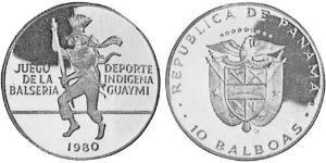 10 Balboa Panama Silber