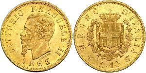 10 Lira Kingdom of Italy (1861-1946) Oro Victor Emmanuel II of Italy (1820 - 1878)
