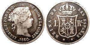 Реал Королівство Іспанія (1814 - 1873) Срібло Isabella II of Spain (1830- 1904)