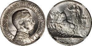 2 Lira Kingdom of Italy (1861-1946) Argent Vittorio Emanuele III (1869 - 1947)