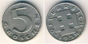 5 Grosh Federal State of Austria (1934-1938) Cuivre/Nickel
