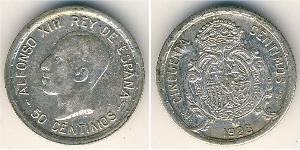 50 Сентімо Королівство Іспанія (1874 - 1931) Срібло Alfonso XIII of Spain (1886 - 1941)