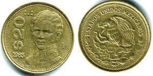 20 Peso México (1867 - ) Bronce