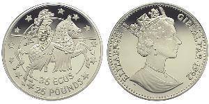 25 Pound / 35 Ecu Gibilterra Argento Elisabetta II (1926-)