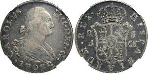 8 Real Spanish Empire (1700 - 1808) Silver Charles IV of Spain (1748-1819)