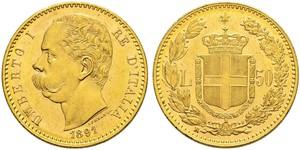 50 Lira Kingdom of Italy (1861-1946) Oro Umberto I (1844-1900)