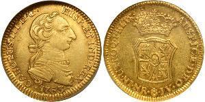 2 Escudo Vicereame della Nuova Granada (1717 - 1819) Oro Carlo III di Spagna (1716 -1788)