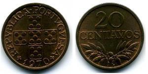20 Сентаво Вторая Португальская республика (1933 - 1974) Бронза
