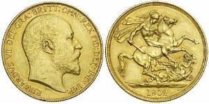 1 Pound 大不列颠及爱尔兰联合王国 (1801 - 1922) 金 爱德华七世 (1841-1910)