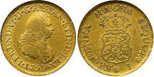 2 Escudo Virreinato de Nueva Granada (1717 - 1819) Oro Fernando VI de España (1713-1759)