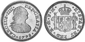 1/2 Реал Новая Испания (1519 - 1821) Серебро Карл IV король Испании (1748-1819)
