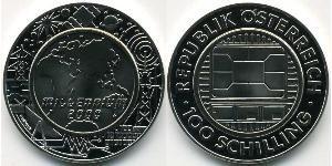 100 Shilling Republic of Austria (1955 - ) Plata-Titanio