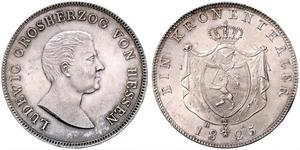 1 Thaler Grand Duchy of Hesse (1806 - 1918) Silver Louis I, Grand Duke of Hesse