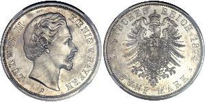 5 Mark Kingdom of Bavaria (1806 - 1918) Silver Ludwig II of Bavaria (1845 – 1886)