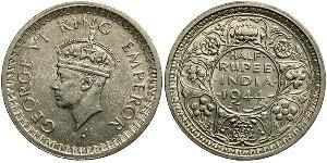1/2 Rupee 英属印度 (1858 - 1947) Billon 乔治六世 (1895-1952)
