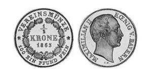 1/2 Krone Royaume de Bavière (1806 - 1918) Or Maximilien II de Bavière(1811 - 1864)