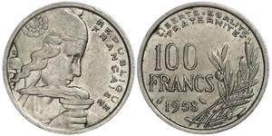 100 Франк French Fourth Republic  (1946-1958) Нікель/Мідь