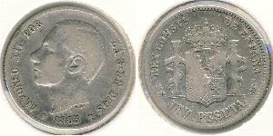 1 Peseta Kingdom of Spain (1874 - 1931) Argento