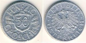 50 Grosh Besetztes Nachkriegsösterreich Aluminium