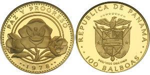 100 Бальбоа Республика Панама Золото