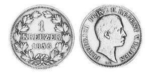 1 Крейцер Великое герцогство Баден (1806-1918) Медь Фридрих I (великий герцог Баденский) (1826 - 1907)