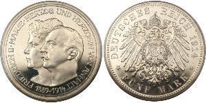 5 Mark Anhalt-Dessau (1603 -1863) Plata Federico II de Anhalt(1856 – 1918)