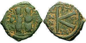 1/2 Follis Imperio bizantino (330-1453) Bronce Justino II (520-578)