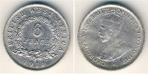 6 Пені British West Africa (1780 - 1960) Срібло Георг V (1865-1936)