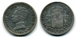 50 Centimo Kingdom of Spain (1874 - 1931) Argento Alfonso XIII of Spain (1886 - 1941)