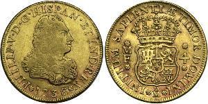 4 Escudo Vicereame della Nuova Spagna (1519 - 1821) Oro Filippo V di Spagna (1683-1746)