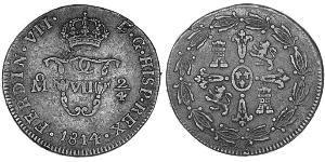 Spanish Mexico  / Kingdom of New Spain (1519 - 1821) Copper Ferdinand VII of Spain (1784-1833)