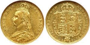 1/2 Sovereign Regno Unito  Oro Vittoria (1819 - 1901)