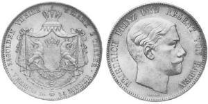 2 Thaler Gran Ducado de Baden (1806-1918) Plata Federico I de Baden (1826 - 1907)