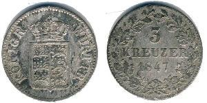 3 Kreuzer Kingdom of Württemberg (1806-1918) Silver