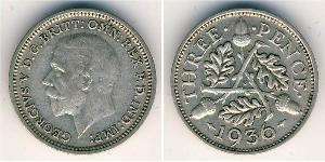 3 Пенни Великобритания (1922-) Серебро Георг V (1865-1936)