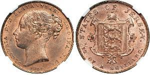 1/52 Шилінг Джерсі Мідь Вікторія (1819 - 1901)