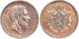20 Franc Belgien Kupfer Leopold II (1835 - 1909)