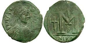 1 Follis Byzantine Empire (330-1453) Bronze Justin I (450-527)