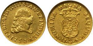 1 Escudo Spanish Mexico  / Kingdom of New Spain (1519 - 1821) Gold Ferdinand VI of Spain (1713-1759)