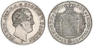 1 Thaler Reino de Sajonia (1806 - 1918) Plata Federico Augusto II de Sajonia