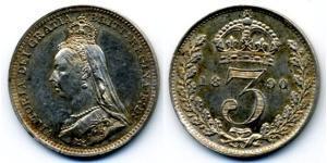 Threepence Сполучене королівство Великобританії та Ірландії (1801-1922) Срібло Вікторія (1819 - 1901)