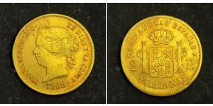 2 Peso Kingdom of Spain (1814 - 1873) / 菲律宾 金 Isabella II of Spain (1830- 1904)