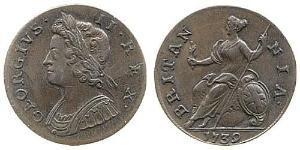 1/2 Penny 大不列顛王國 (1707 - 1800) 銅 乔治二世 (大不列颠) (1683 - 1760)