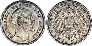 2 Mark Anhalt-Dessau (1603 -1863) Argento Federico I di Anhalt (1831-1904)
